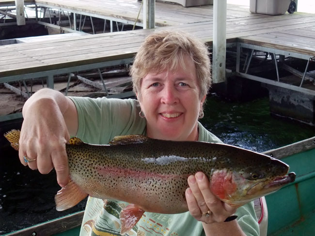 Joyce w/ Rainbow Trout, His Place Resort