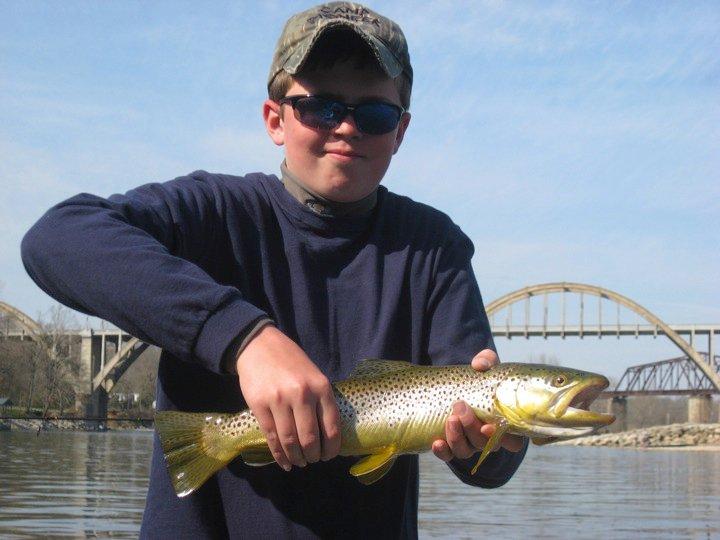 Logan S. Trout Fishing below Cotter Rainbow Arch Bridge