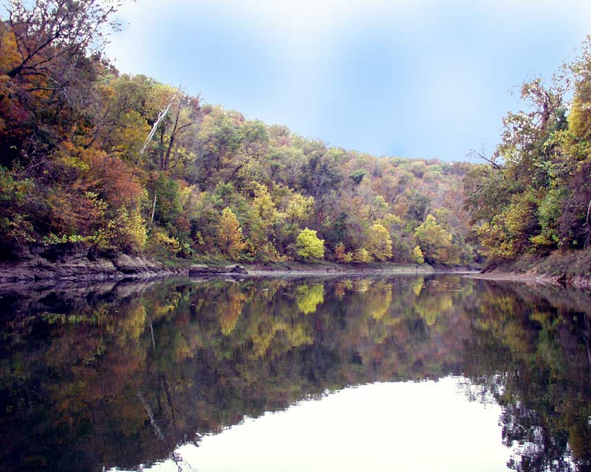Fall Foliage in the Ozarks, White River looking into the mouth of Crooked Creek